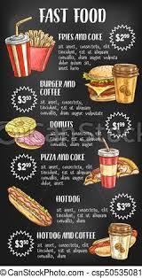 Food Menu Design Fast Food Menu On Chalkboard Design Fast Food Menu Design On
