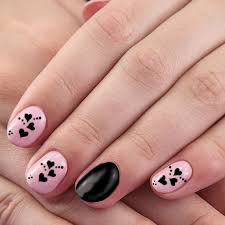 pink and black nail art design pattern 6