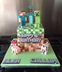 Creeper Cake Design Minecraft Earth Block Cake With Sugar Diamond Sword Steve