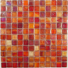 Orange Glass Bathroom Tiles