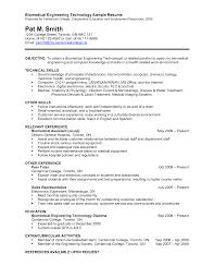 Biomedical Technician Resume Sample Gallery Creawizard Com