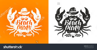Crab Typographic Design Travel Journey Concept Stock Vector ...