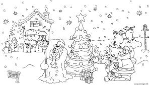Coloriage Noel Paysage Bonhomme De Neige Sapin Maison Reine Dessin
