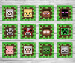 Printable Minecraft Cupcake Toppers Minecraft Birthday Party Supplies