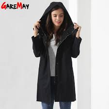 womens breakers with a hood denim jacket long trench coat casual black trench coat women trench