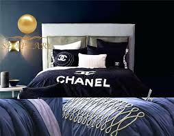 chanel bedroom set whole luxury cotton king queen bedding set duvet cover sheet case royal blue chanel bedroom set bathroom set fake designer bedding