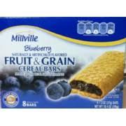 millville cereal bars fruit grain blueberry