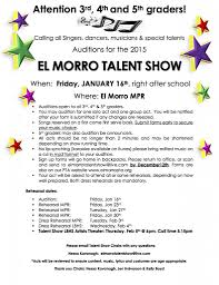 talent show flyer template free el morro pta talent show turn in your audition form by friday