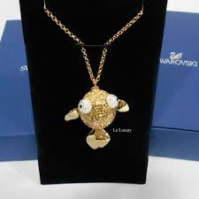 details about swarovski lychee pendant necklace gold lucky fish crystal authentic mib 1110471