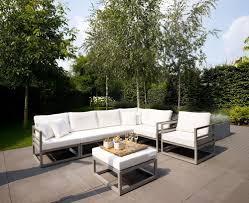 modern metal furniture. Awesome Modern Metal Garden Furniture Design With Cool Outdoor Sofa Plus Tall Green Trees