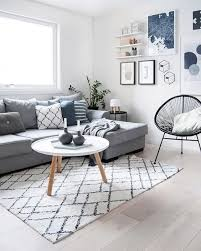 Scandinavian style room with blue pops of color
