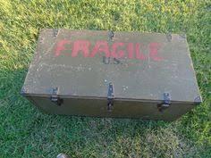 Vintage WWII Era Military Trunk with <b>Removable</b> Tray <b>Footlocker</b> ...
