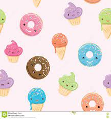 Seamless Pattern With Sweets In Kawaii ...