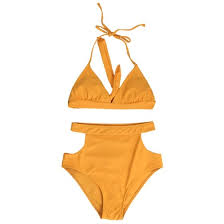 Shop <b>Sexy Women High Waist</b> Bikini Set Halter Straps Cut Out Side ...