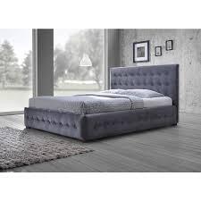 Baxton Studio Margaret Modern Grey Velvet Button-Tufted Platform Bed, Queen