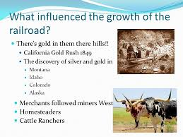 What influenced the growth of the railroad? There's gold in them ...