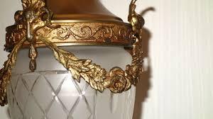 Glas Hollampe Französische Kronleuchter Messing Putten