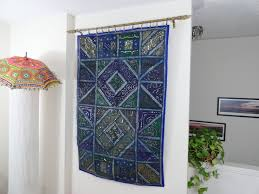 Small Picture Ethnic Wall Tapestry Home decor idea Blue Ganges Fabric Wall