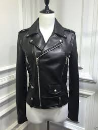 women s black leather motorcycle biker jacket