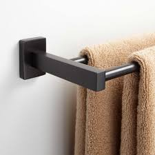 towel bar with towel. This Sleek Towel Holder Is Made Of Solid Brass And Comes With Mounting Hardware.921724Signature Hardware Bar Signature
