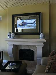 mounted behind a framed 2 way mirror tv cover decor ideas for hiding flat screen