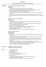 Example Of Social Work Resumes Social Work Manager Resume Samples Velvet Jobs