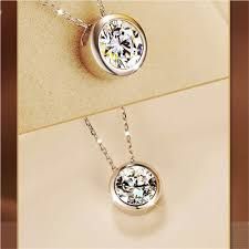 details about fashion women round single crystal rhinestone silver pendant necklace jewelry