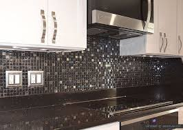 Black Granite Countertops With Tile Backsplash Gorgeous Modernblackgalaxygranitecountertopwhitecabinetglassmetal