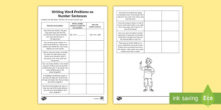writing word problems as number