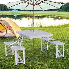 outsunny picnic table chair 4 seat set