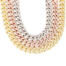 miss jewelry whole men hip hop jewelry diamond cuban link chain gold jewelry