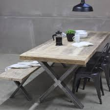 xavier reclaimed wood dining table with steel x frame