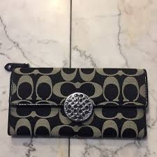 Coach large black monogram wallet