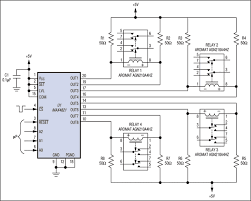 ic drives up to four single coil latching relays application this circuit easily drives four single coil latching relays