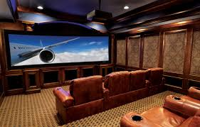 Decorations:Alluring Traditional Home Theater For Entertainment Room With  Wood Walls And Large Tv Comfy