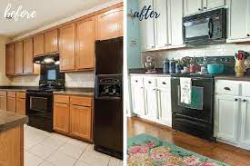 diy white painted kitchen cabinets