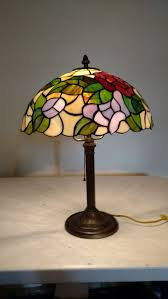 details about antique lamp base with vintage stained glass shade