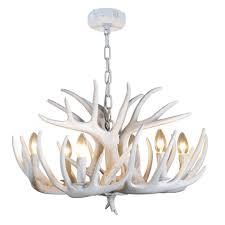 contemporary white antler chandelier 6lt
