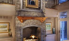 es stacked stone nantucket int carr residence fireplace with art