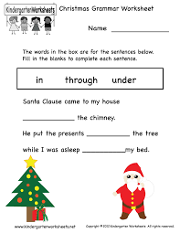 Free Printable Christmas Grammar Worksheet for Kindergarten