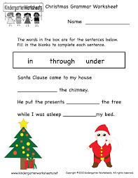 Free Printable Christmas Grammar Worksheet for Kindergarten