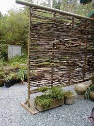 low budget wattle privacy screen with sculptural aesthetic values