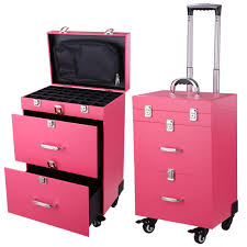 aw 14x9x20 pvc 4 wheel rolling makeup case nail drill cosmetic artist beauty