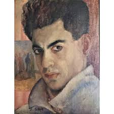 j cohen portrait of a man oil painting circa 1950s