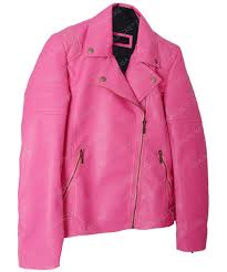 pink faux leather biker quilted jacket for women
