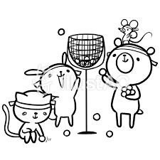 運動会玉入れ動物熊兎猫線画塗り絵イラスト No 864602無料イラスト