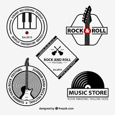 rock and roll logos collection free vector