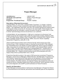 Project Manager Job Description Project Manager Lockheed Martin