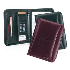 promotional products rainier 3 ring binder zipper leather padfolio