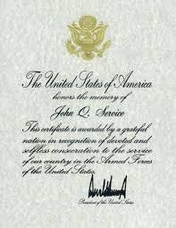 Certificate Of Appreciation Volunteer Work Presidential Memorial Certificates Certificate Of